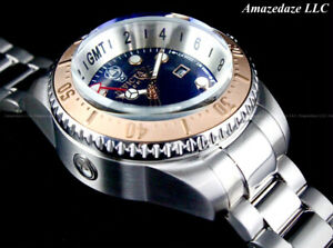 Invicta Reserve Men 52mm Hydromax Swiss GMT Stainless St. BLUE DIAL1000 M Watch