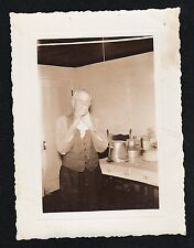 Vintage Antique Photograph Man Wiping Mouth With Napkin Portland Maine 1940