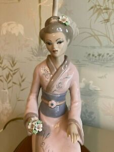 Oriental (japanese) Lady Figurine Lamp with Shade