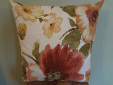 Decorative Pillow Cover Red Brown Pink Yellow Green and Of White Large Floral