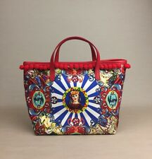 New DOLCE GABBANA Carretto Siciliano Floral Sicily Small Pom Pom Tote Bag Purse