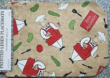 "CHEF PRINTED LINEN  placemat REVERSEBLE 12""x18""   table protector  set of 6"