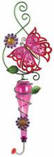 Painted Metal & Glass Pink Butterfly Garden Hanging Hummingbird Nectar Feeder