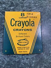 Vintage Crayola Crayons Large 8 Count Box Binney Smith Used Condition