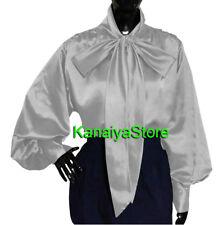argent Satin Vintage style chemise à manches longues Blouse Haut Col Haut