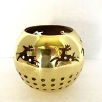 Brass Candle Holder Votive Christmas Reindeer Lacquered Holiday Tea Light