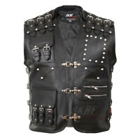 Men's Genuine Cow Leather Heavy Buckled Rocker Motorcycle Biker Vest Waistcoat