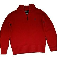 Ralph Lauren Polo Boy's Quarter Zip 100% Cotton Knit Red Sweater Size 6 Holiday