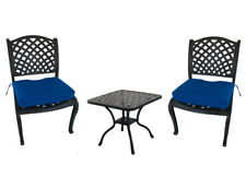 Bistro patio cast aluminum set 3 piece outdoor dining armless chairs end table