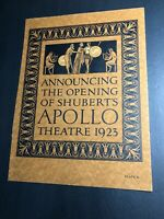 Shubert's Apollo Theatre Opening Incredible Orig Graphic Art Poster 1923