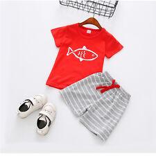 Summer Casual Kids Toddler Baby Boy T-Shirt Tops+Beach Shorts Pants 2PCS Clothes