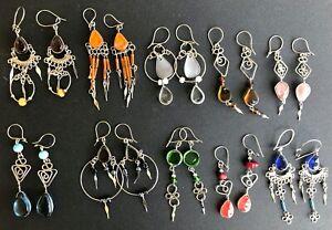 Peruvian Glass Earrings Handmade Alpaca Silver Pick Your Color 1 shipping