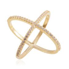 Oro Amarillo Plata Ley Blanca Transparente Simular Diamante Fino Anillo de Cruz