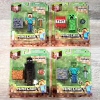 MINECRAFT Action Figures Series 1 Set - Steve, Creeper, Enderman, Zombie Lot NEW