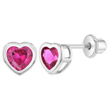 Rhodium Plated Fuchsia Crystal Heart Screw Back Earrings for Toddlers & Girls