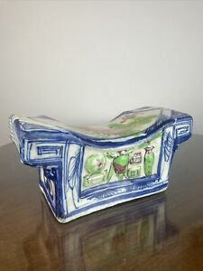 """Chinese Porcelain Headrest Opium Pillow - 9.5"""" Hand painted Polychrome"""