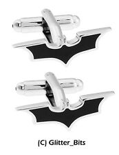 Batman Cufflinks Silver Plated Bat Black Symbol Sign Superhero Gift Bag
