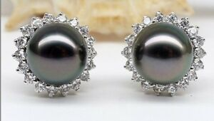 PAIR OF 12MM NATURAL TAHITIAN GENUINE BLACK STUD PEARL EARRING