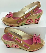 Sperry Top Sider Sisal Floral Platform Peep Toe Wedge Shoes Size 6 M TAN PINK