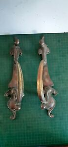 Vintage brass door pulls, decorative pair