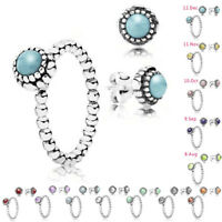 925 Silver Natural Birthstone Gem Ear Studs Wedding Earring Ring Set Size 6-10