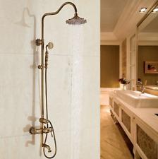 Europe Antique Brass Rainfall Shower Faucet Units Head +Hand Sprayer Mixer Tap