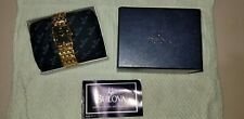 Bulova 97F16 Rectangle Diamond Collection GoldTone Case & Bracelet Black Dialnew