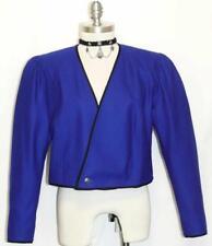 Cobalt BLUE JACKET BOILED WOOL Women ITALY Designer Winter Dress Suit 42 8 S B39