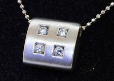 18K white gold elegant high fashion .16CTW diamond pendant on chain necklace