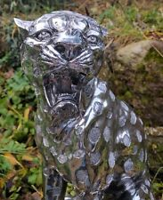 Magnificent Silver Art Shiny Leopard Ornament Sitting 51cm Tall