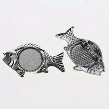 2pcs Tibetan silver color ROUND 20mm cabochon settings fish brooch design XA076