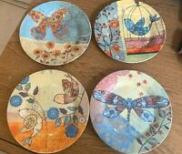 """Set of (4) 8"""" Salad Plates Butterfly, Dragon Fly, Birds  Unbranded"""