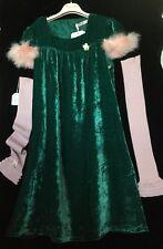 BLUMARINE ABITO ANNI 14 velluto verde e maniche rosa seta/viscosa