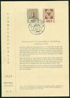 Bund Ersttagsblatt Vorläufer Joppen Nr. 8 ETB INTERPOSTA 1959 Michel Nr.310-311a