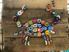 Collage Crab Beer Cap Art, Colorful Unique Wall Art. Free Shipping.