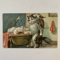 Antique Postcard Tuck's Humorous Cats 122 Cat With Rats & Birds Anthropomorphic
