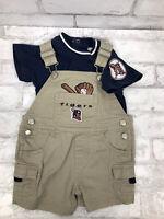 DETROIT TIGERS Baseball 2 Piece Infant Blue Shirt Shortalls Overalls Sz 6/9 M