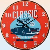 "Glas-Wanduhr Wall Clock Ø ca. 30 cm Uhr mit ansprechendem Motiv ""Classic Garage"""