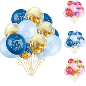 15X Baby 2nd Birthday Age 2 Confetti Latex Balloons Inflatable Party Decor Two