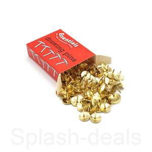 100 x Brass Drawing Pins Strong Metal - Gold Colour Thumb Tacks - 9.5mm Boxed
