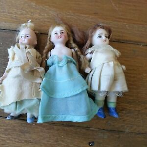 """ANTIQUE WIRE Jointed BISQUE DOLL LOT of 3 Dollhouse GERMANY 3.5"""""""