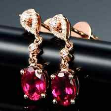 Stunning 1.84ct Solid 14K Rose Gold Natural Red Tourmaline Diamond Fine Earrings