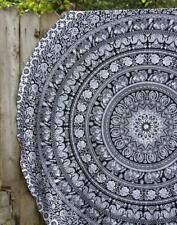Indian Elephant Mandala Roundie Hippie Beach Towel Cotton Table Cover Wall Throw