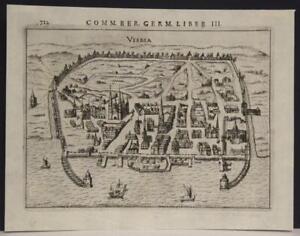 VISBY SWEDEN 1612 PETRUS BERTIUS UNUSUAL ANTIQUE COPPER ENGRAVED CITY VIEW