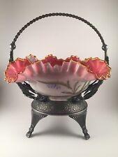 Exquisite Antique Victorian Fancy Hand Painted Brides Bowl And SP Fancy Basket