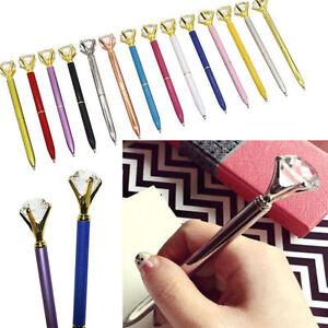 Creative Crystal Diamond Shape Head Metal Ballpoint Pen Office Stationery Gifts