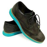 Cole Haan Lunargrand Mens Size 8.5M Black Lace-Up Oxford Wingtip Suede Shoes