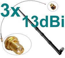 3x 13dBi Antenne + Kabel RP-SMA u-FL 2,4 + 5 Ghz WLAN Dualband Fritz!Box Pigtail
