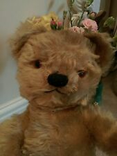 """Antique chad valley 17"""" jointed mohair labelled teddy bear golden beige"""