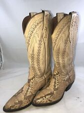 Larry Mahan Cowboy Boots Python Reptile Exotic Snakeskin Leather Tan Women 5.5 M